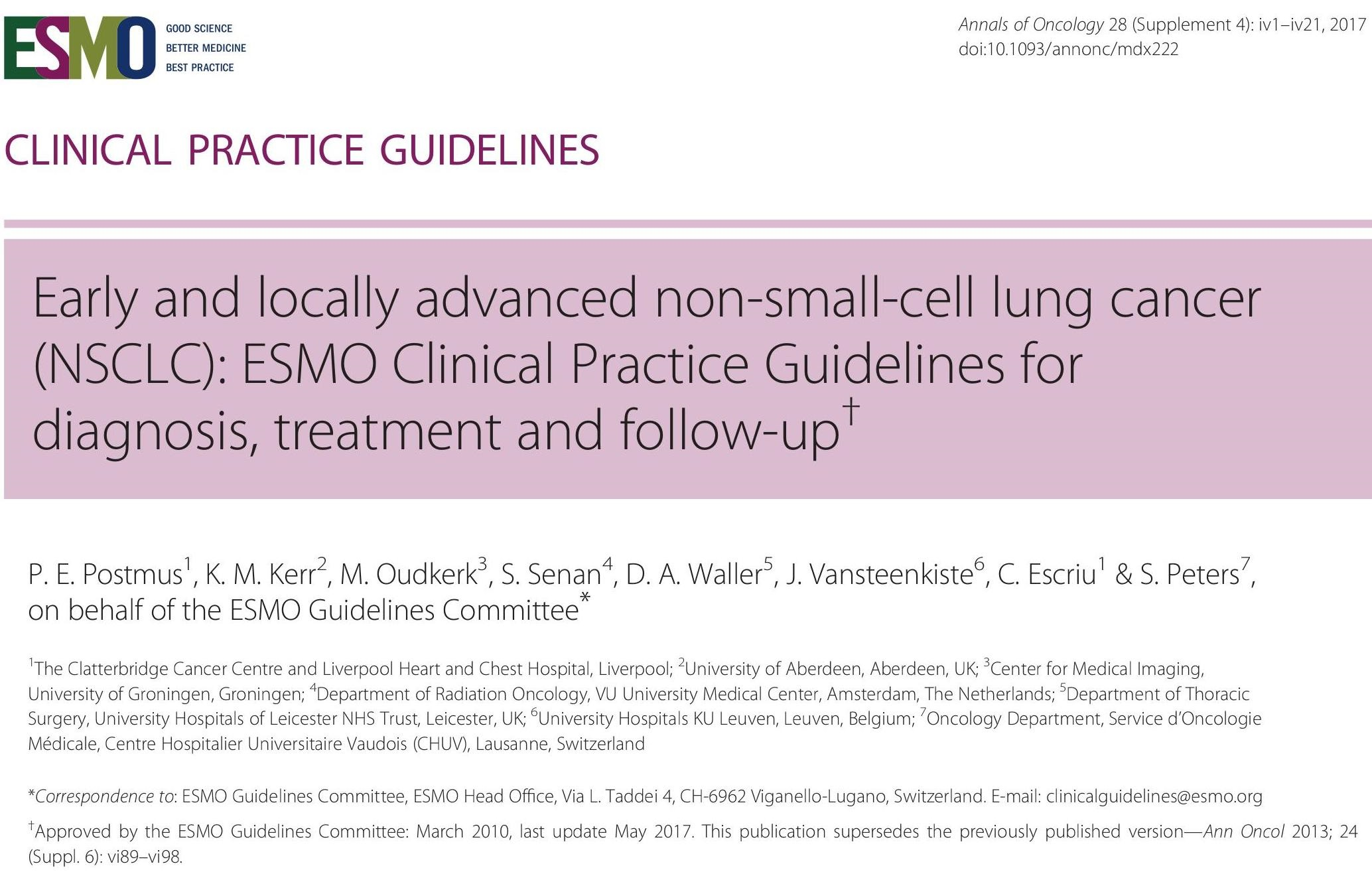 Early and locally advanced non small cell lung cancer NSCLC